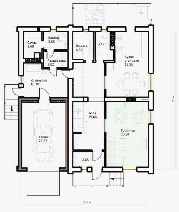 план двухэтажного дома c гаражом