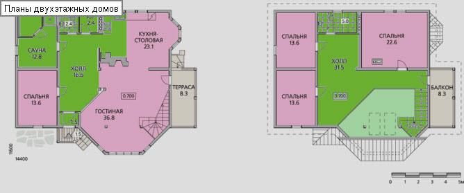 план двухэтажного дома с