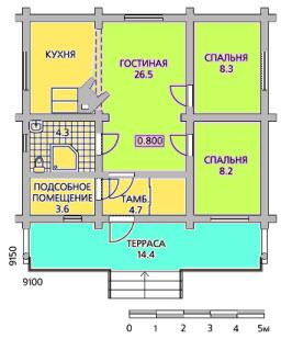 план одноэтажного дома9x9
