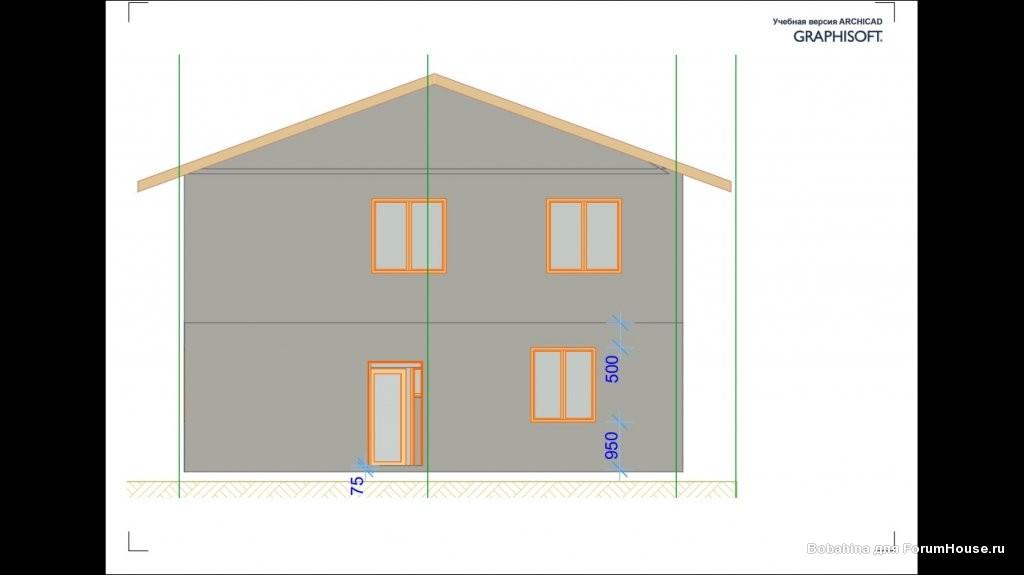 проект двухэтажного дома из газобетона (пенобетона)