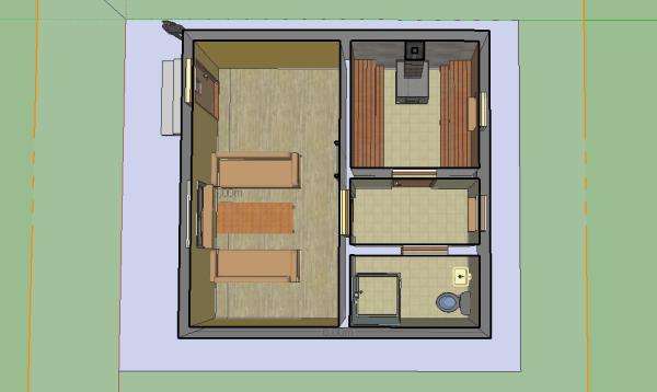 первый этаж каменной бани