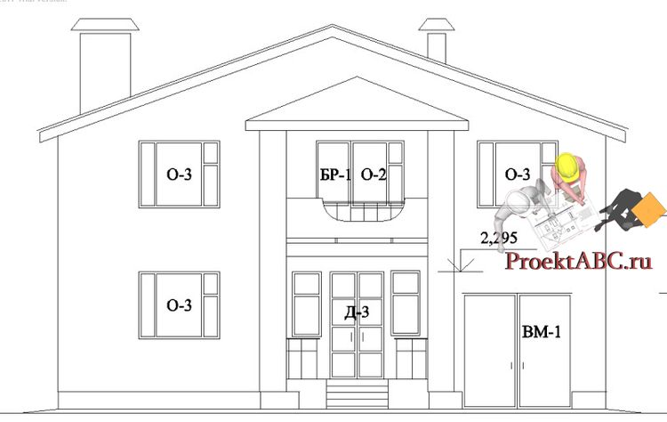 фасад двухэтажного коттеджа с английским стилем