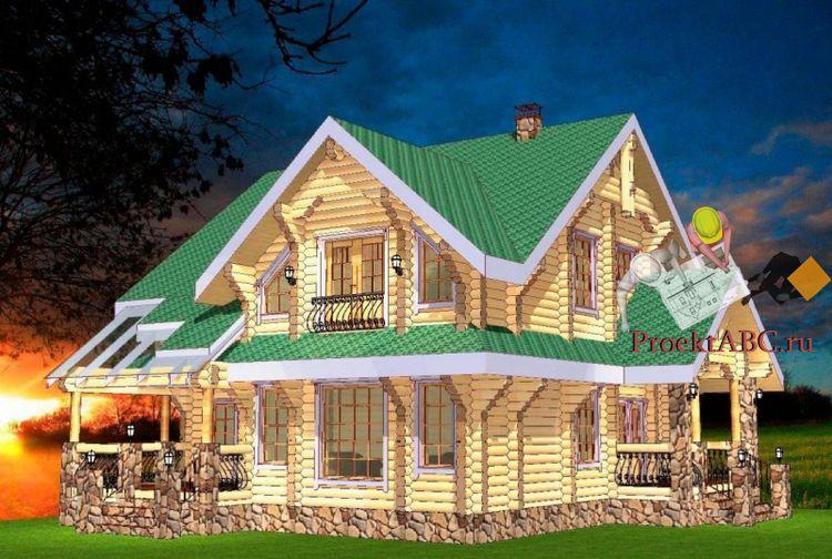 фасад одноэтажного коттеджа с мансардой в стиле шале