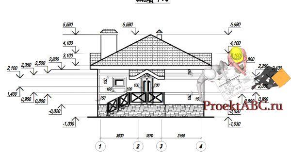 фасад одноэтажного дачного дома в стиле шале