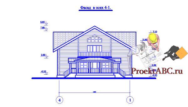 фасад одноэтажного коттеджа с мансардой в классическом стиле