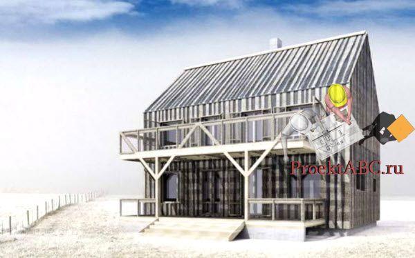 фото фасада одноэтажного коттеджа с мансардой в классическом стиле