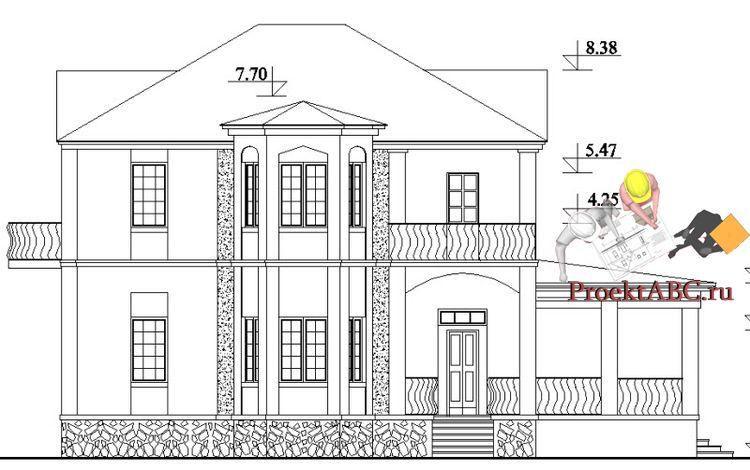 фасад двухэтажного дома с английским стилем