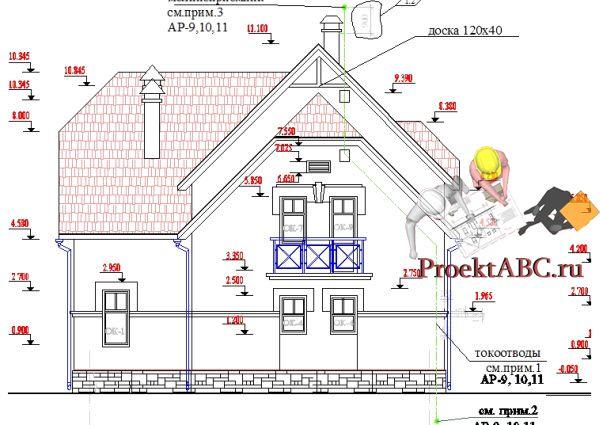 Рабочий проект двухэтажного дома из кирпича 11 на 14
