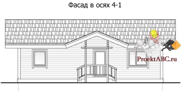 фасад одноэтажного дома в американском стиле