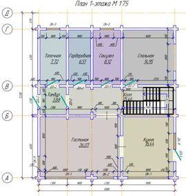 план первого этажа 12 на 12 м, - изображение