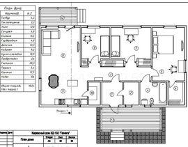 планировочное решение первого этажа 8 на 14 м, с верандой - схема