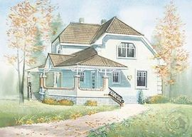 фото фасада подобного двухэтажного дома с мансардой