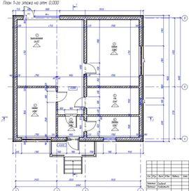 планировочное решение первого этажа 8 на 8 м, - схема