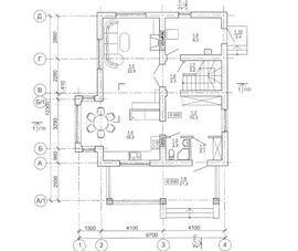 план первого этажа 9 на 9 м, с верандой - фото