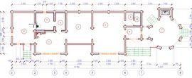 планировочное решение 1-го этажа 20 на 7 м, с верандой - изображение