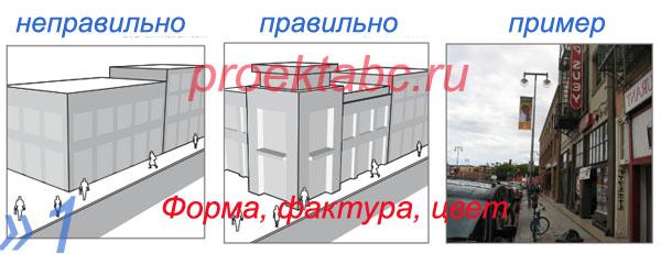 форма, текстура, архитектурные элементы фасада