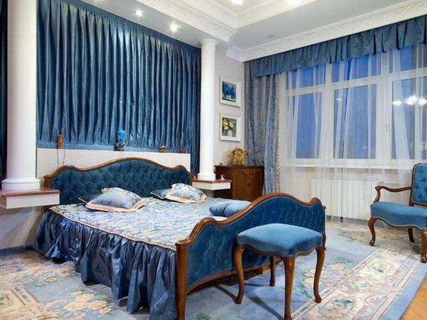 синий классический дизайн спальни