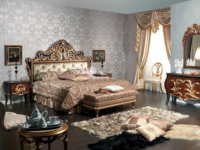 голубой интерьер спальни в классике