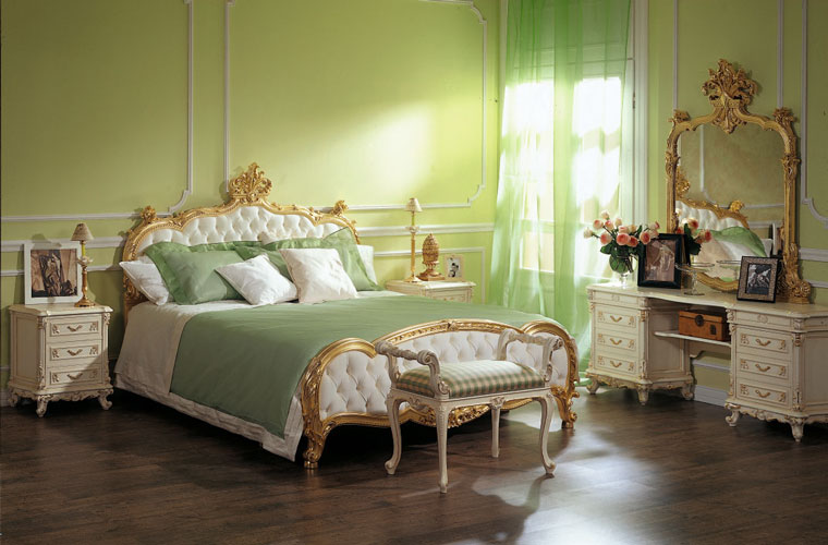 зеленый дизайн спальни в классике фото