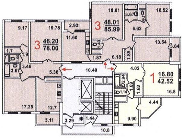 Типовая планировка серии гмс-1 - план с размерами.