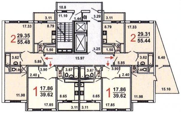 Дома серии гмс-1 (гмс-2001) - планировка квартир.