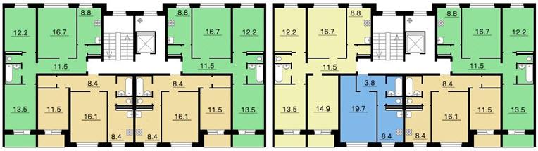 Типовая планировка серии 83 (111-83) - план с размерами.