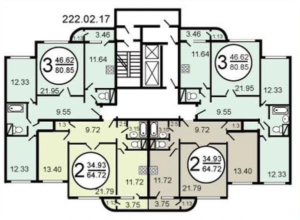 Типовой жилой дом серии c-222 планировки квартир, фото.