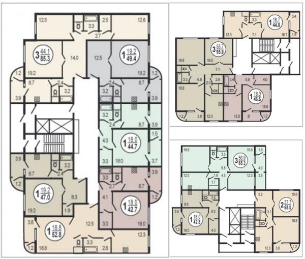 Серия дома п-111м - планировка с размерами.