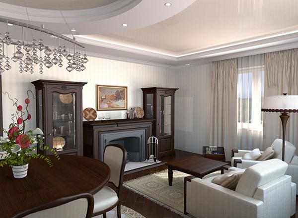 дизайн зала на первом этаже дома