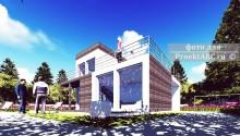 """Двухэтажный коттедж по BIM технологии с гаражом """"Hi-Tec House"""""""