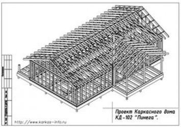 Проект каркасного одноэтажного коттеджа 8 на 14