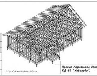 Проект каркасного одноэтажного коттеджа 8 на 13