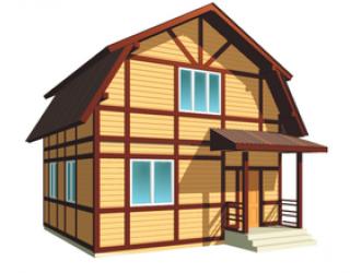 Каркасный дом в стиле фахверк 8 на 7, один этаж и мансарда