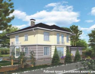 Двухэтажный каменный дом с гаражом - 13 на 12 метров