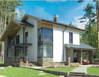 Каркасный дом в стиле хай-тек - проект 14-11 м, с печатью