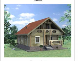 Проект бревенчатого одноэтажного дома c мансардой 12 на 10 м