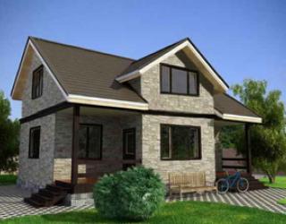 """Каркасный одноэтажный дом с мансардой 10 на 10 - проект """"Марсель"""""""