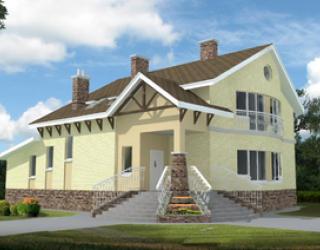 Рабочий проект кирпичного двухэтажного дома 16 на 12