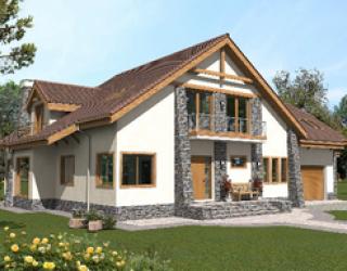 Профессиональный проект каркасного одноэтажного дома c мансардой 20 на 15