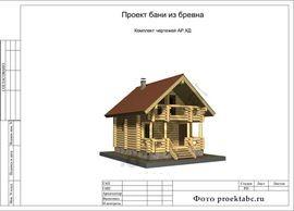 Проект бревенчатого одноэтажного строения c мансардой 6 на 7