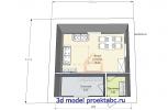 #3 Планировка 6 на 6 с топочной и одной жилой комнатой